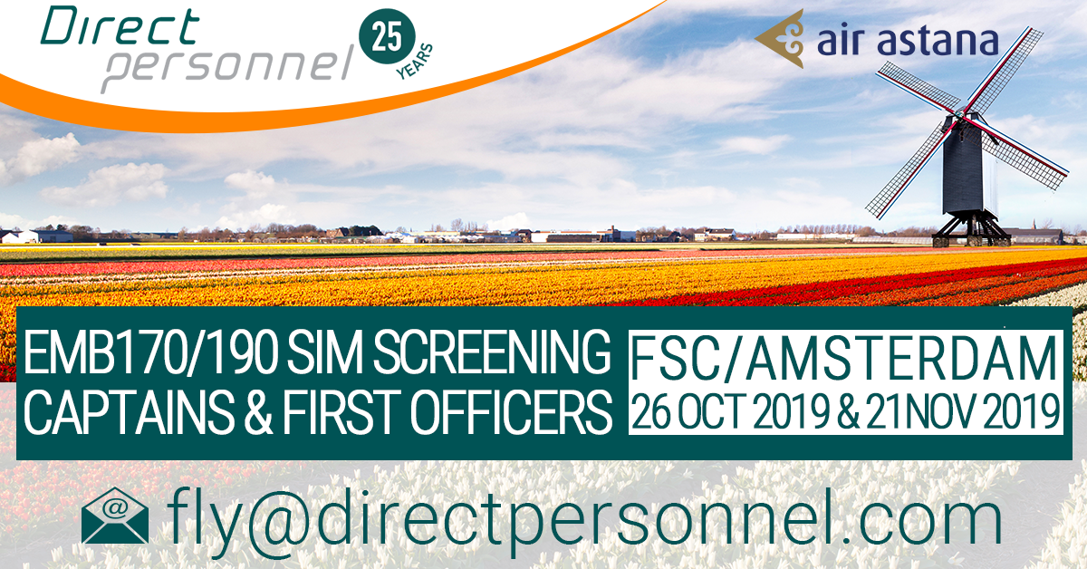 Embraer Pilots, EMB 170/190 SIM Screening, Captains, First Officers, Fly for Air Astana, FSC, contact Direct Personnel