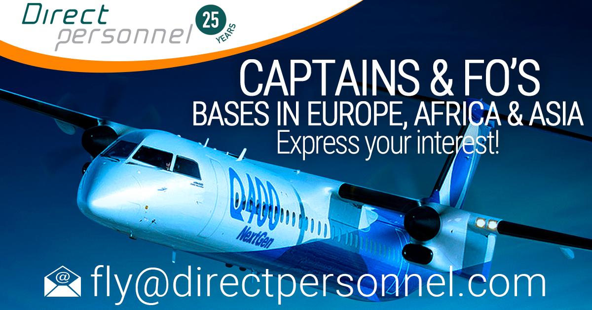 DHC8 Q400 Captains & First Officers, Dash 8 Q400 Captains, Dash 8 Q400 First Officers, Pilot jobs in Europe, Africa & Asia - Direct Personnel