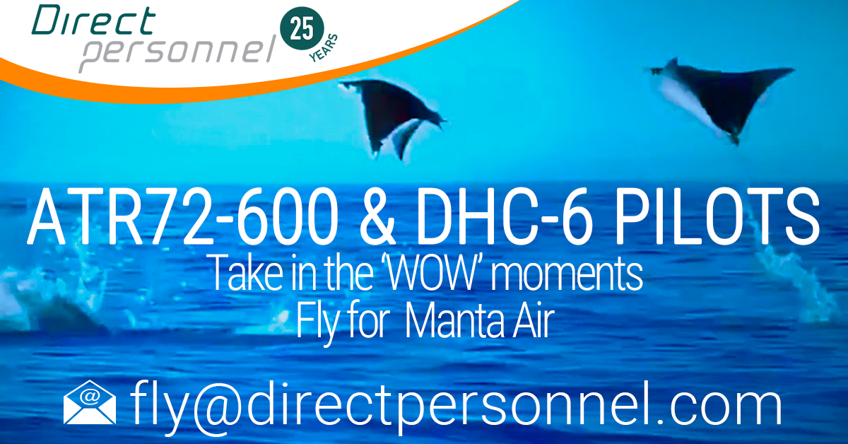 Client in the spotlight Manta Air, Direct Personnel Recruitment, Fly and live in paradise, ATR72-600 Captains, ATR72-600 First Officer jobs, DHC-6 Pilot jobs, Direct Personnel Pilot Jobs - Direct Personnel