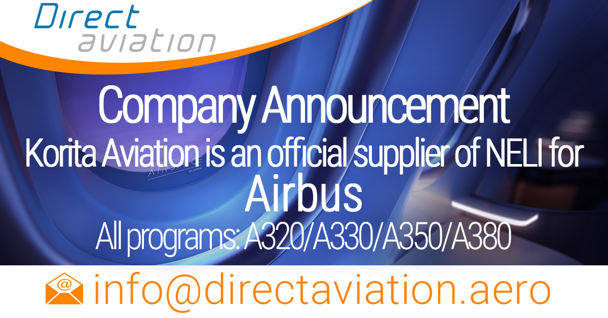 Direct Aviation Group Company Announcement - Korita Aviation is an official supplier of NELI for Airbus - Direct Aviation