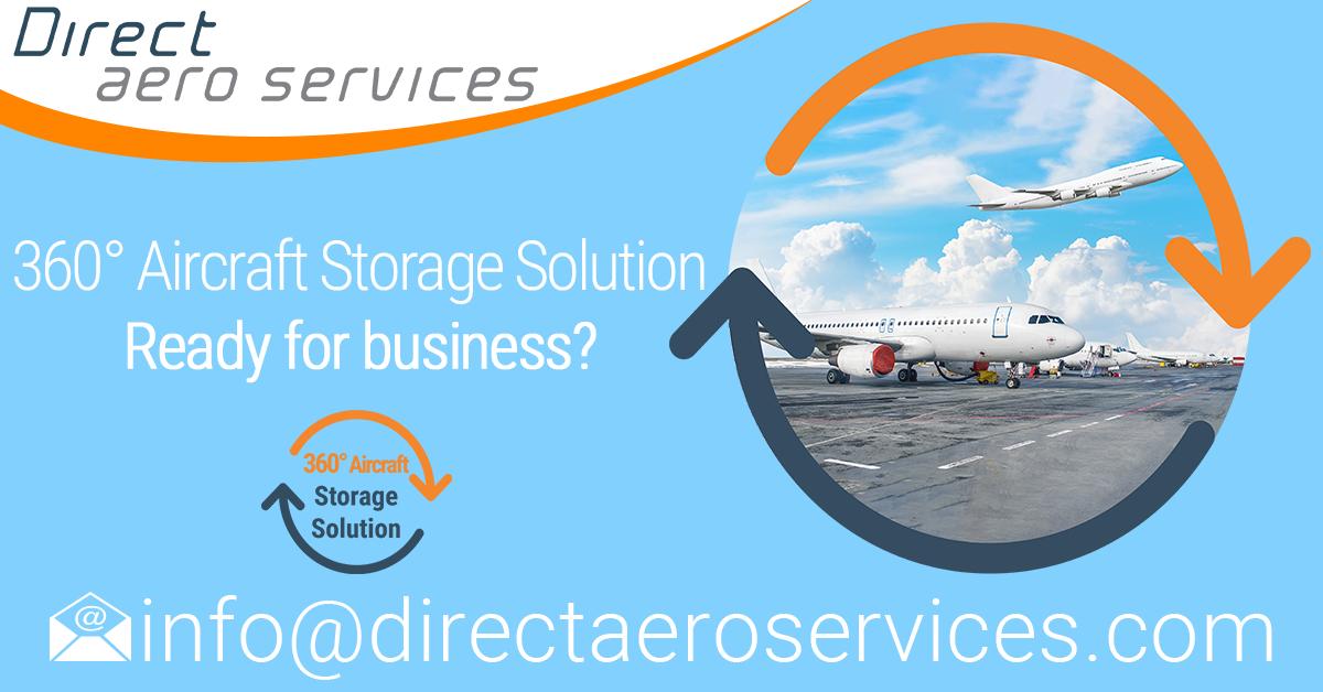 NEW Service - Aircraft parking and aircraft storage services, 360°Aircraft Storage Solution- Contact Direct Aero Services