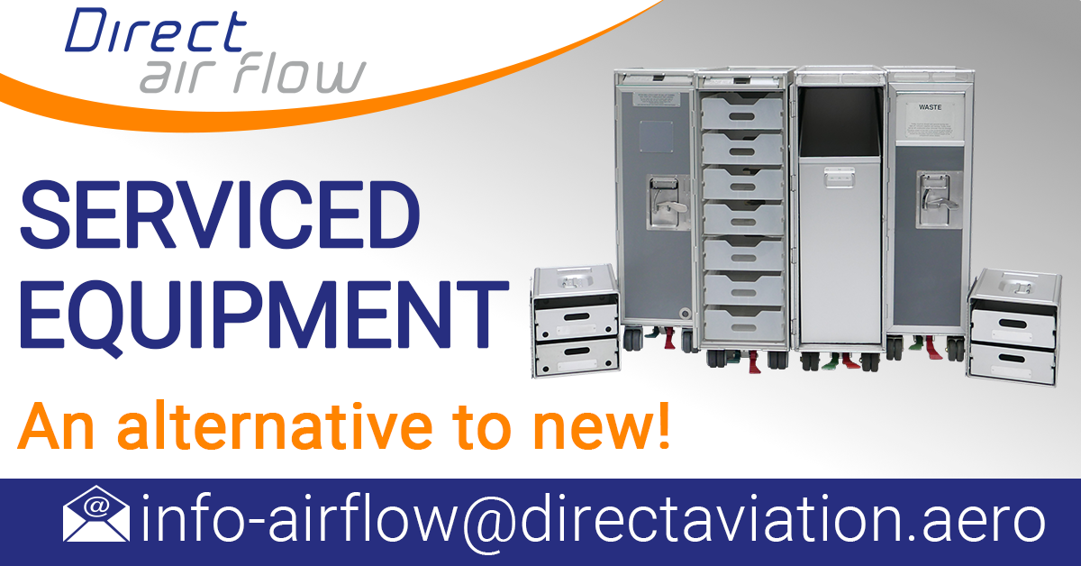 overhauled galley insert equipment, used galley inserts, serviced galley insert equipment, used airline carts, used airline trolleys, used containers, used drawers - Direct Air Flow
