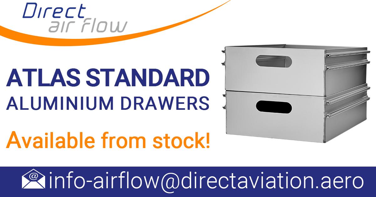 aluminium catering drawers, ATLAS aluminium drawers, catering drawers, airline drawers, aluminium drawer news - Direct Air Flow