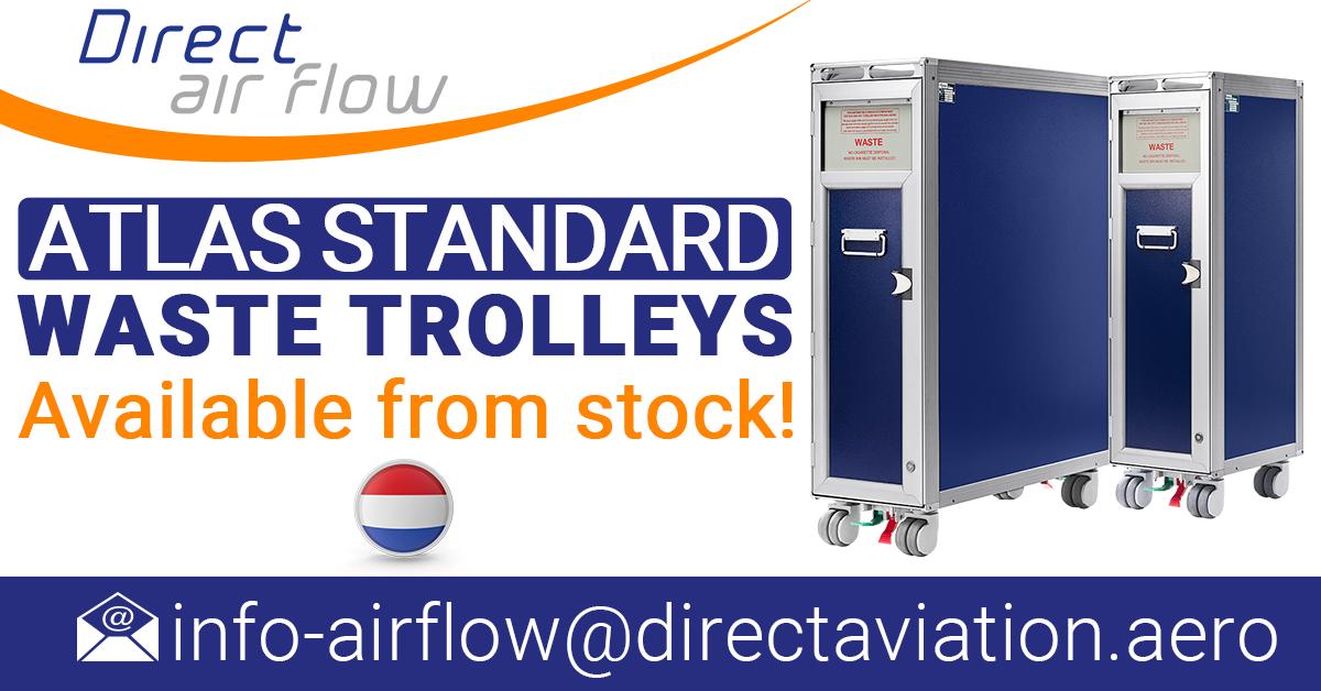 ATLATLAS standard trolleys, aircraft waste trolleys, cabin waste collection trolleys, ATLAS airline waste carts, inflight waste management trolleys - Direct Air Flow
