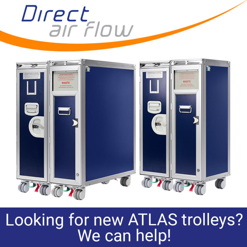 Direct Air Flow inflight stock, inflight galley inserts, galley equipment, onboard service equipment, airline carts, airline service carts, airline waste carts. A range of galley inserts are supplied including inflight carts and trolleys - Direct Air Flow