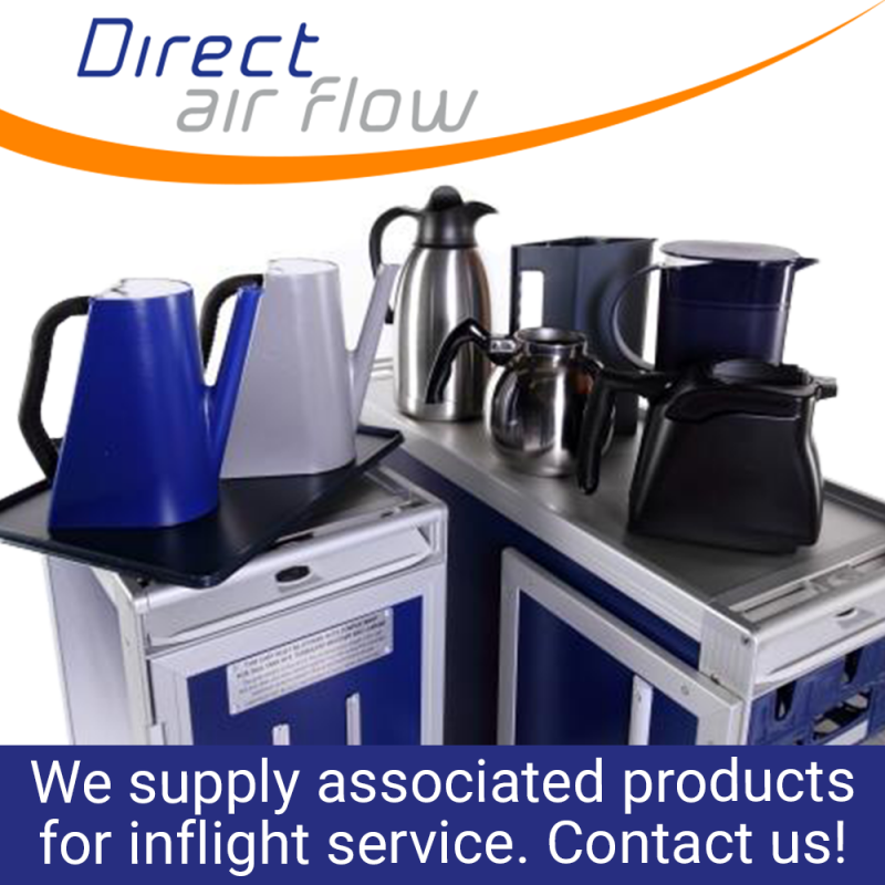 drink servers, hot drink servers, meal trays, hot jugs, glass racks, cooling bags, associated products, airline catering - Direct Air Flow