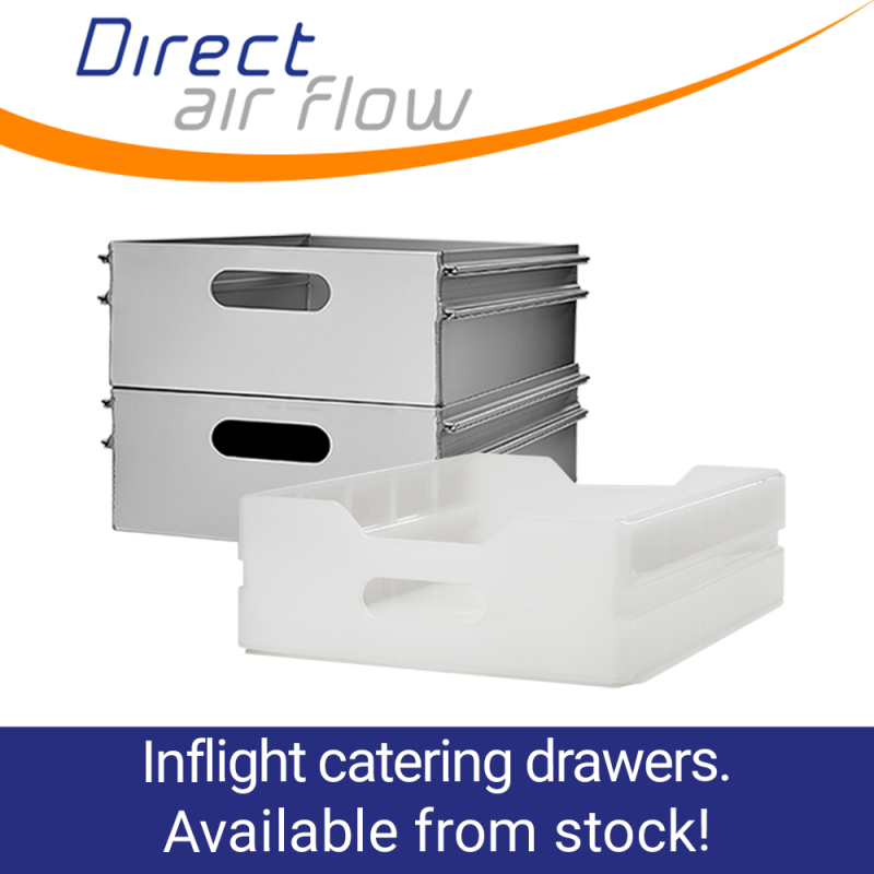 inflight catering drawers, airline catering, catering equipment, aluminium drawers, polypropylene drawers, ATLAS standard drawers - Direct Air Flow