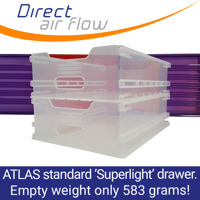 Atlas superlight translucent dual runner polypropylene drawer - Immediate delivery from stock - Direct Air Flow