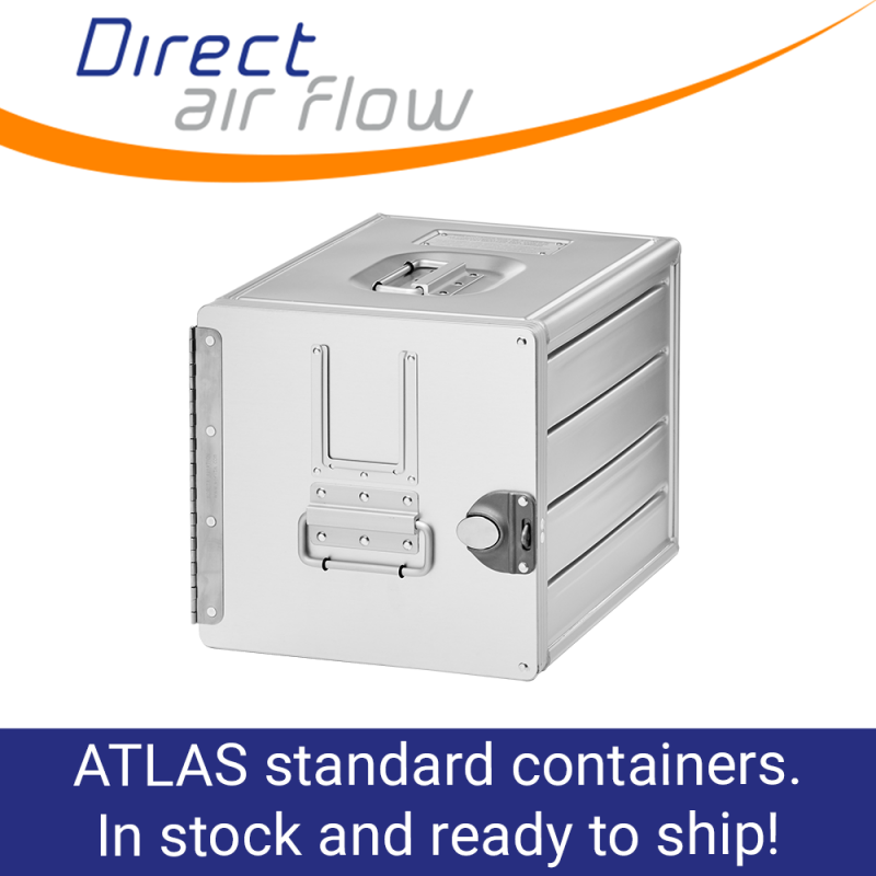 atlas containers, atlas standard units, atlas carriers, airline storage containers, cabin storage, galley insert equipment - aluminium aircraft interior containers, aluminium standard units - Direct Air Flow