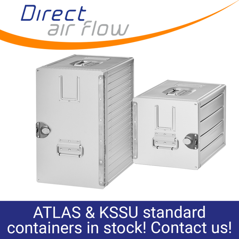 KSSU containers, inflight containers, ATLAS containers, aircraft galley containers, inflight storage, ATLAS standard units, US market containers, Aluflite containers - Direct Air Flow