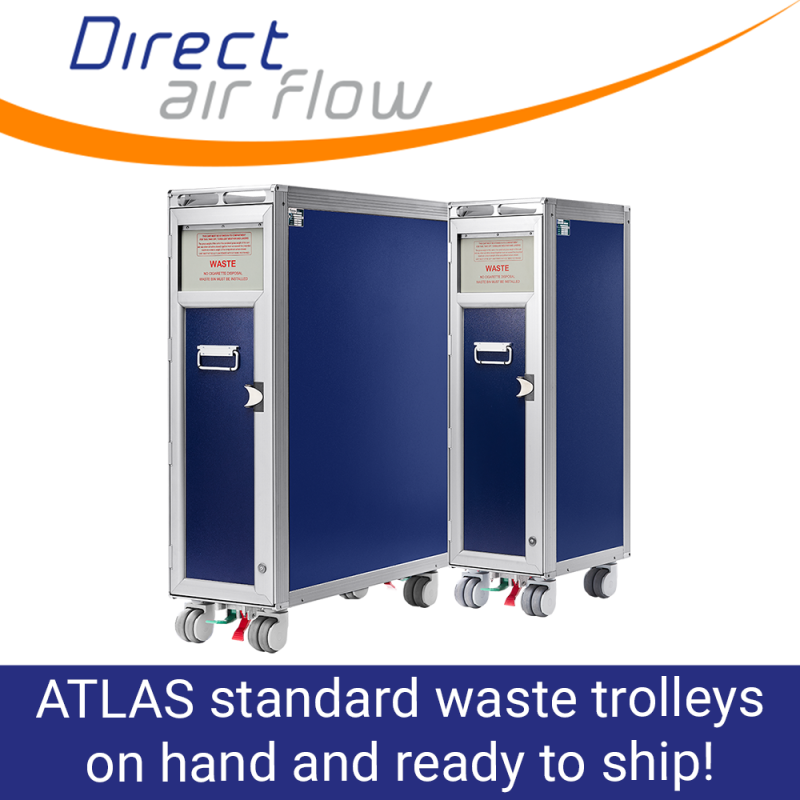 ATLAS standard trolleys, aircraft waste trolleys, cabin waste collection trolleys, ATLAS airline waste carts, inflight waste management trolleys - Direct Air Flow