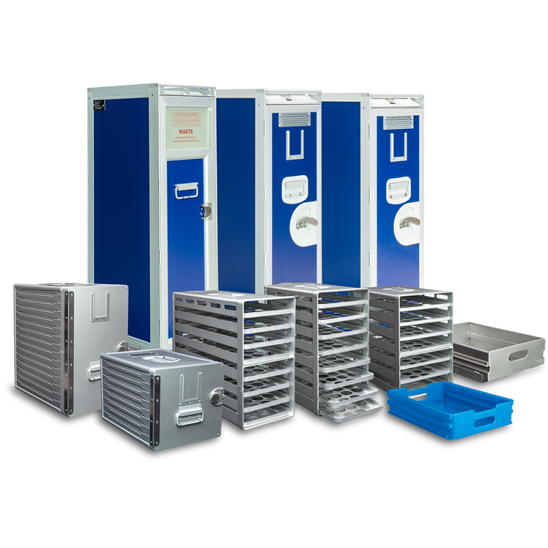Direct Air Flow supply inflight catering trolleys which include; the Aluflite Atlas half size waste trolley, half size waste cart, airline waste cart, onboard service waste cart, inflight half size waste trolley - Direct Air Flow
