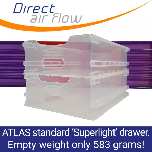 Superlight Atlas polypropylene catering drawer, extra lightweight airline catering drawer, Atlas standard lightweight polypropylene drawer - Direct Air Flow