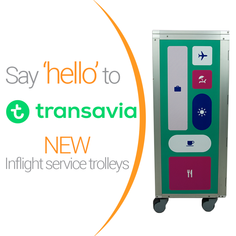 Korita Aviation manufactures galley equipment for airlines worldwide, Transavia is one of them.  Transavia inflight service trolleys manufactured by Korita Aviation, aluflite trolleys - Korita Aviation