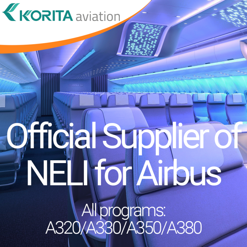 Korita Aviation is pleased to announce the completion of the approval and qualification process to supply NELI for Airbus.  We are now an official supplier of NELI for Airbus, all programs: A320/A330/A350/A380.