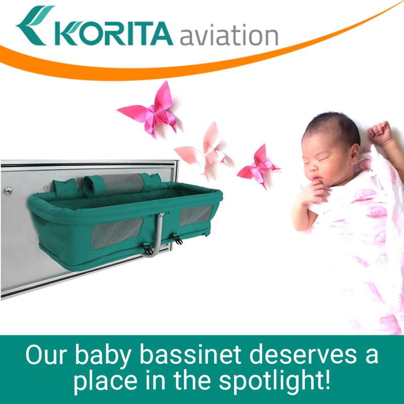 Airline baby bassinet, aluflite baby bassinet, aviation baby bassinet, baby bassinet manufacturers, aircraft interior baby bassinet - Korita Aviation