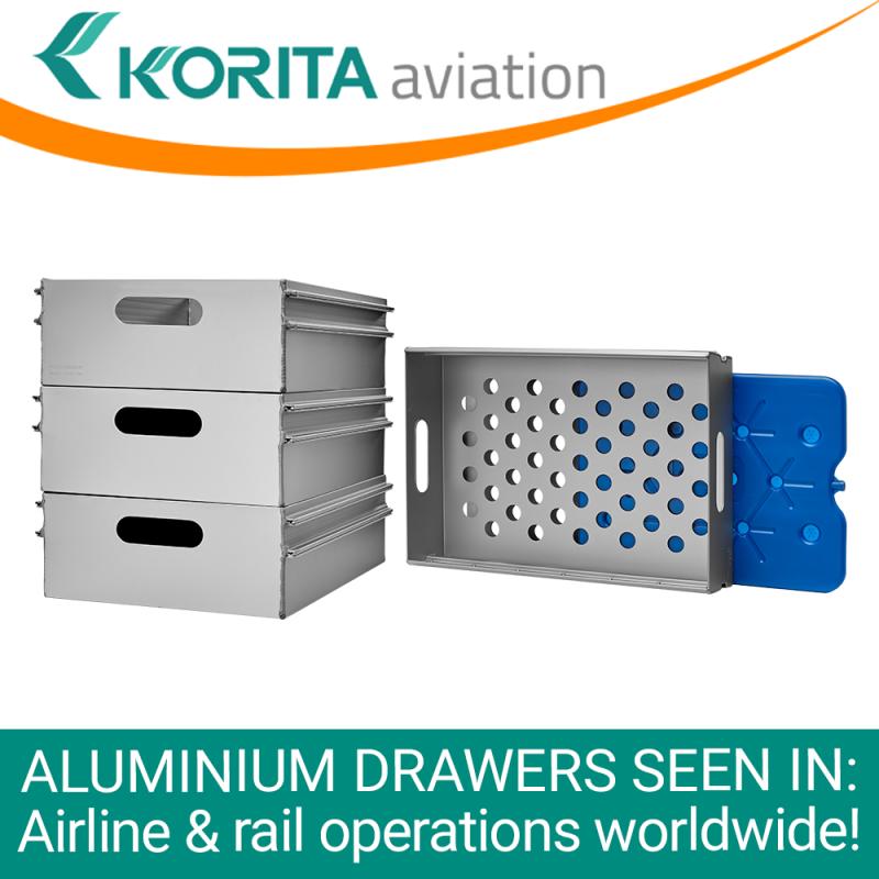 rail drawers, rail catering drawers, airline drawers, aluminum drawers, ATLAS standard aluminium drawers, KSSU aluminium drawers, aluminium catering drawers, airline catering drawers, inflight drawers - Korita Aviation