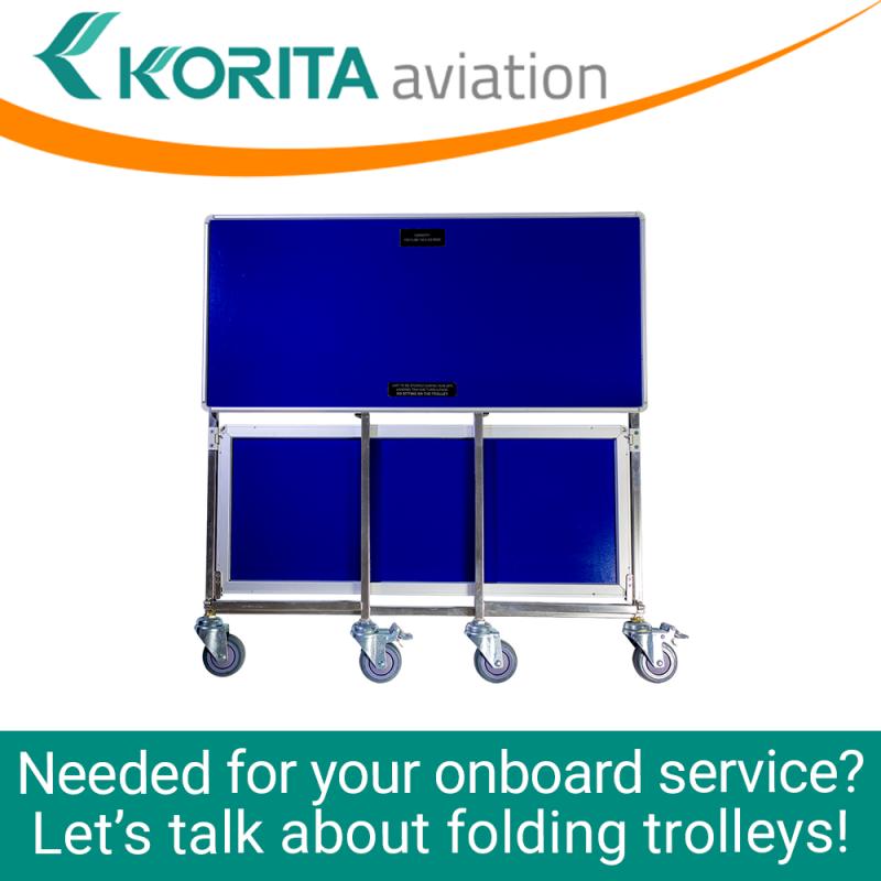 airline folding trolleys, aviation folding trolleys, first class service trolleys, foldable trolleys, inflight folding trolley - Korita Aviation