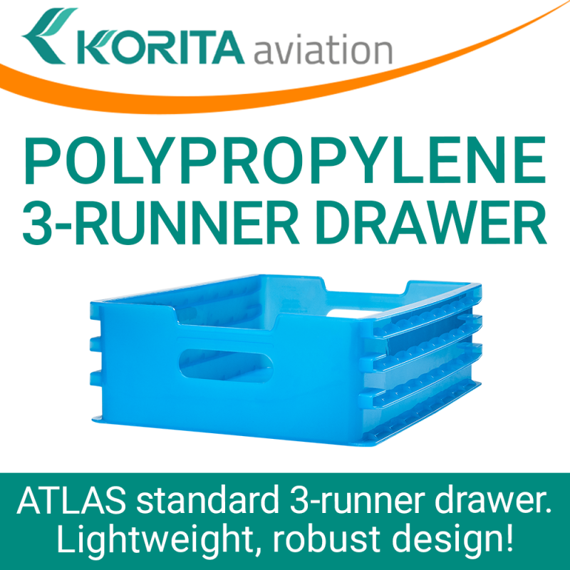drawers, catering drawers, airline polypropylene drawers, 3-runner drawers, airline trolley drawers, airline cart drawers, lightweight pp drawers - Korita Aviation