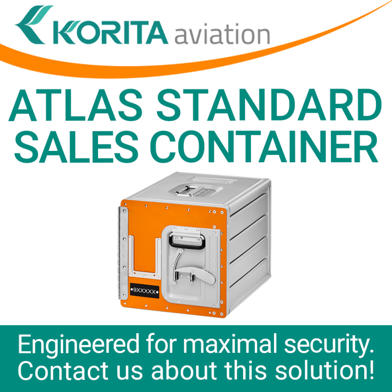 airline inflight storage, sales container,  Aluflite containers, ATLAS standard, standard units, atlas containers, ATLAS galley, aircraft storage, airline carriers, airline containers - Korita Aviation