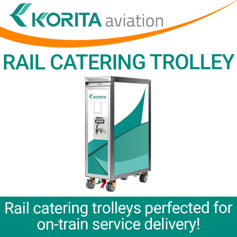 rail catering trolleys, rail catering carts, railway service caddy, on-train service carts, railway galley trolleys, rail trolley, rail passenger service trolley, railway food and beverage trolley - Korita Aviation