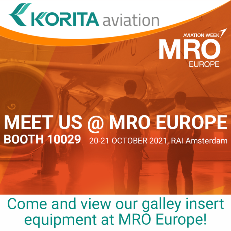 #MROE, MRO, aircraft galley, cabin interiors, catering equipment, inflight, Onboard Service, Trolleys, Containers, Drawers, Oven racks, Baby bassinet, Exhibiting at MROE, galley insert equipment, BFE, Rotable - Korita Aviation