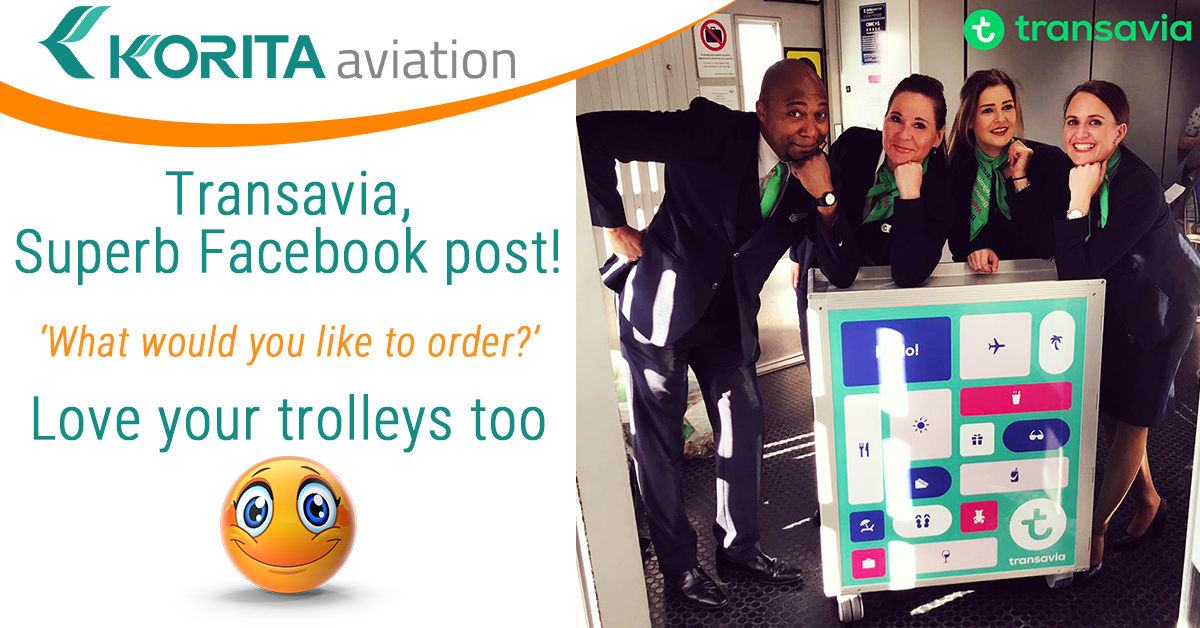 Transavia team next to the new inflight catering trolleys manufactured by Korita Aviation
