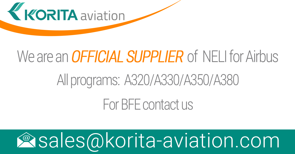 Korita Aviation is pleased to announce the completion of the approval and qualification process and are now a new supplier of NELI for Airbus. As of today, we are an official supplier of NELI for Airbus Aircraft, all programs: A320/A330/A380/A35