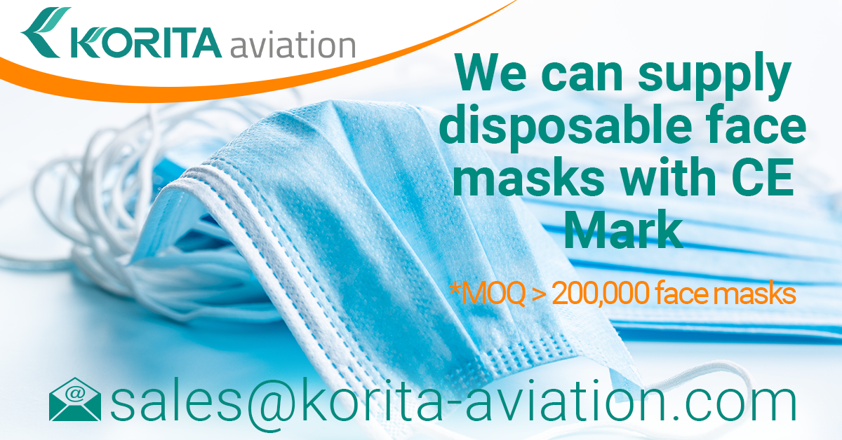 face masks, disposable face masks, Type II face masks, Type I face masks, face masks with CE Mark, medical face masks, face masks with CE Mark - Korita Aviation