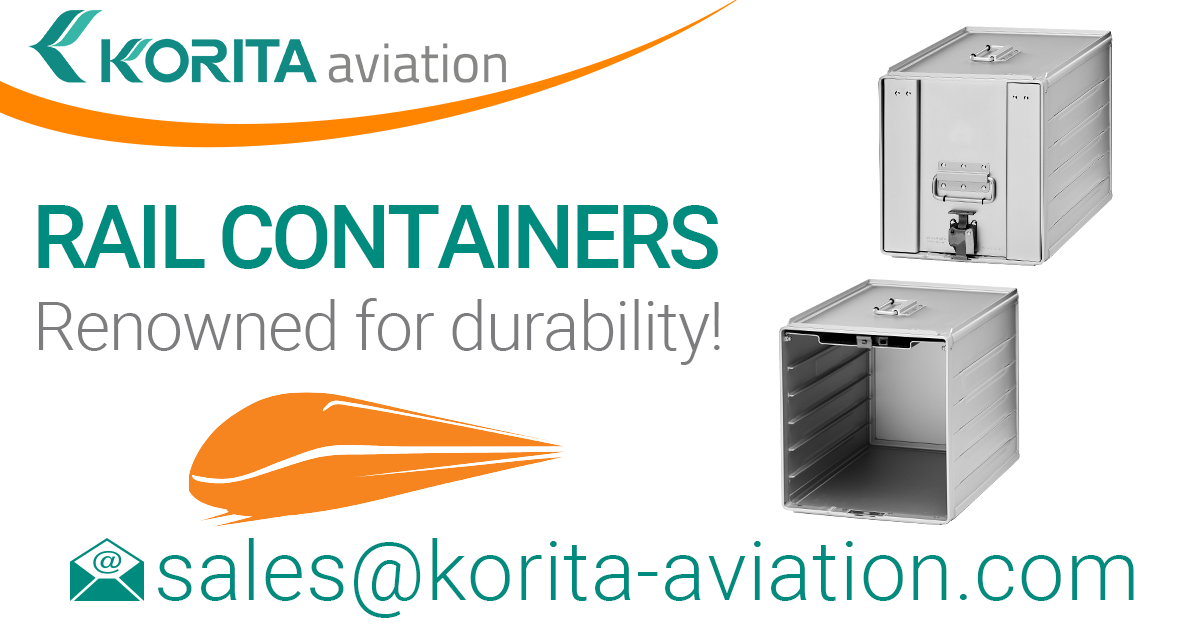 rail containers, rail catering container, standard units, railcar galley storage containers, on-train storage, catering containers, railway catering container - Korita Aviation
