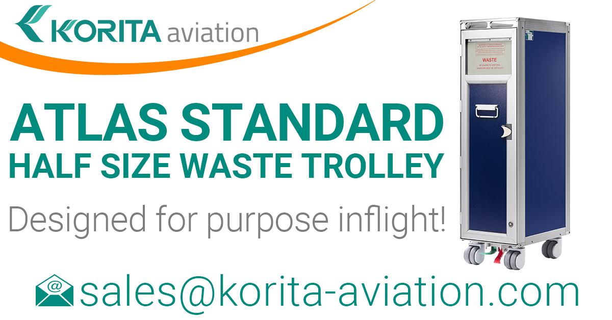 aviation trolley news, aluflite trolleys, airline carts, airline trolleys, ATLAS standard half size waste trolleys,airline carts, airline waste collection trolley, catering trolley - Korita Aviation