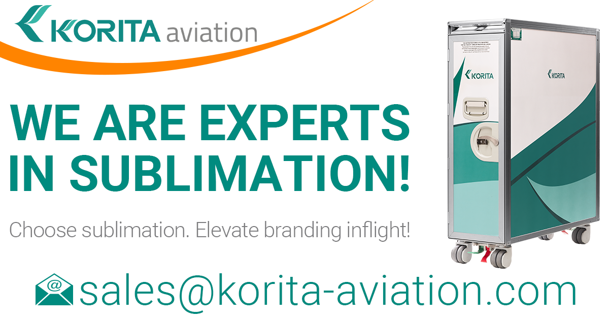 sublimation news, trolley news, sublimation, brand exposure inflight, sublimated trolleys, sublimated carts, trolley external panel finish options, airline branding, galley insert equipment branding, sublimation experts - Korita Aviation