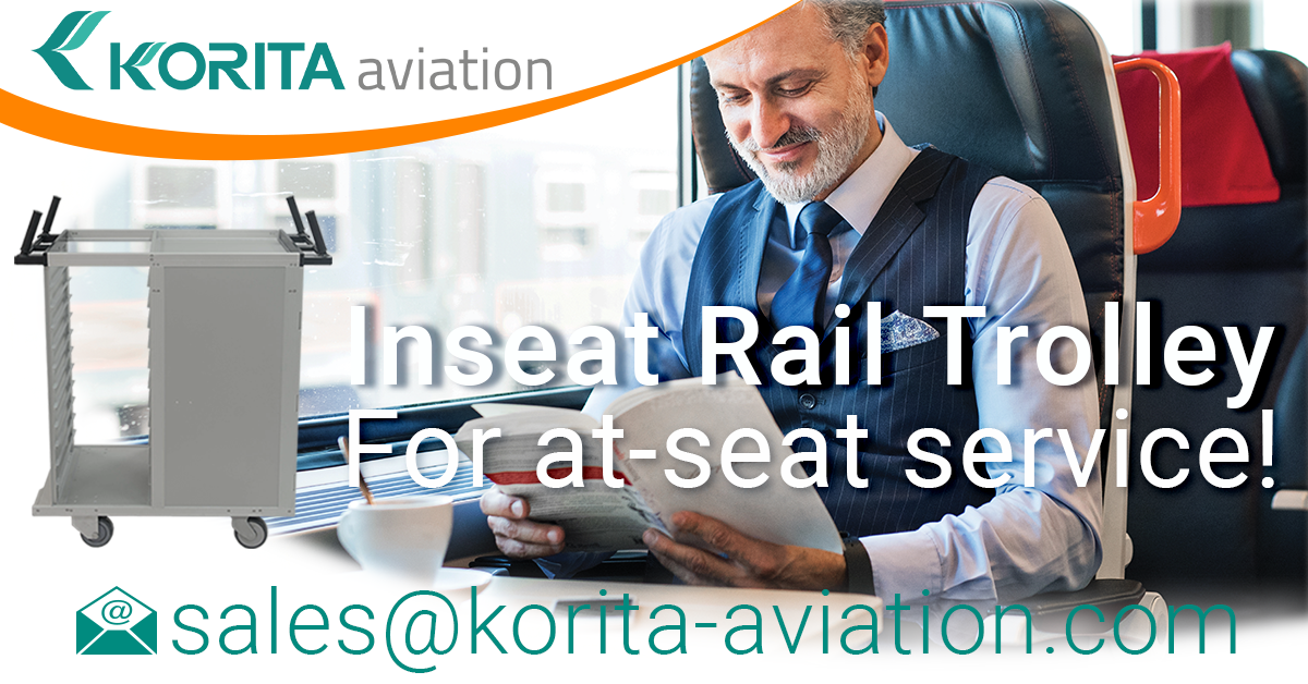 at-seat rail trolleys, inseat rail trolley, on-train service trolley, railcar catering trolley, rail catering trolley manufacturer, rail catering caddy, rail catering cart - Korita Aviation