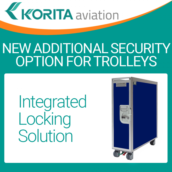 integrated locking solution,additional padlock/seal option, airline cart options, bespoke trolley design,airline catering trolleys, duty-free trolleys, korita aviation trolleys/cart options