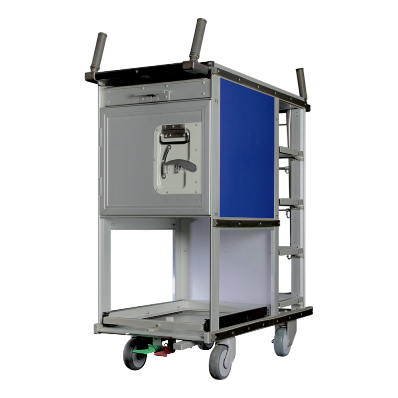 INSEAT RAIL TROLLEY, at-seat rail trolley, atseat rail catering trolley, railway atseat trolley, rail cart service trolley - Korita Aviation